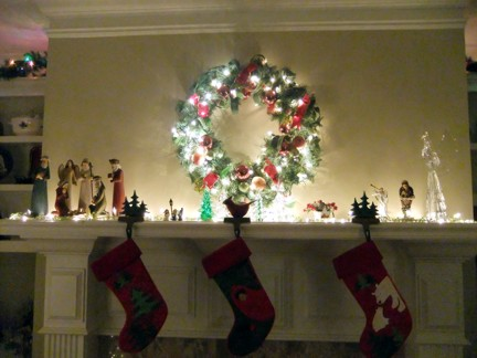 Christmas lights on mantle