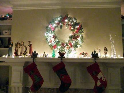 Christmas lights on mantle