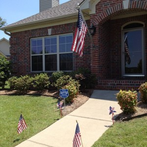 Flag front of house