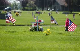 Flags on graves, Memorial Day