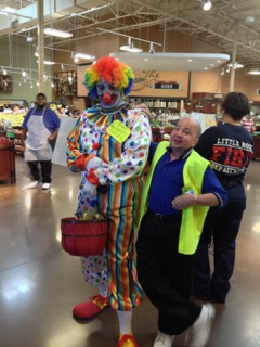 Jeremy and clown at Kroger