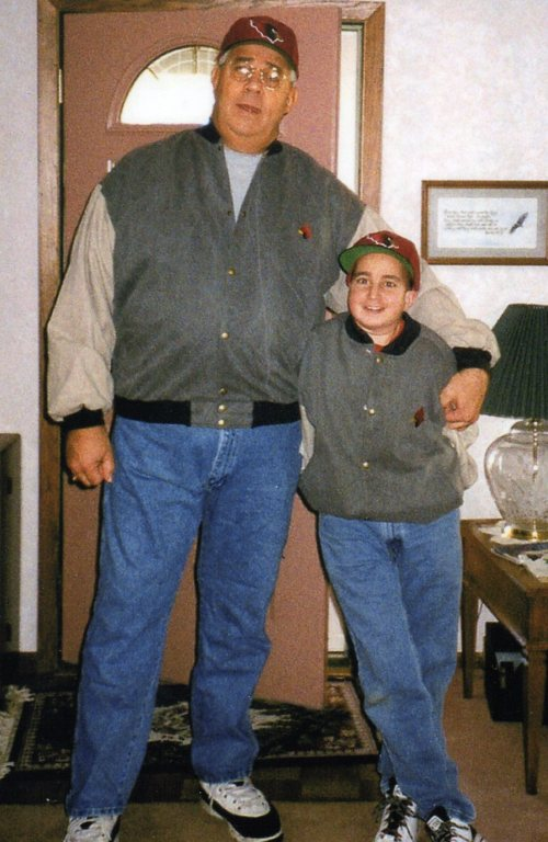Jeremy and Dad cardinal jackets 1990's049